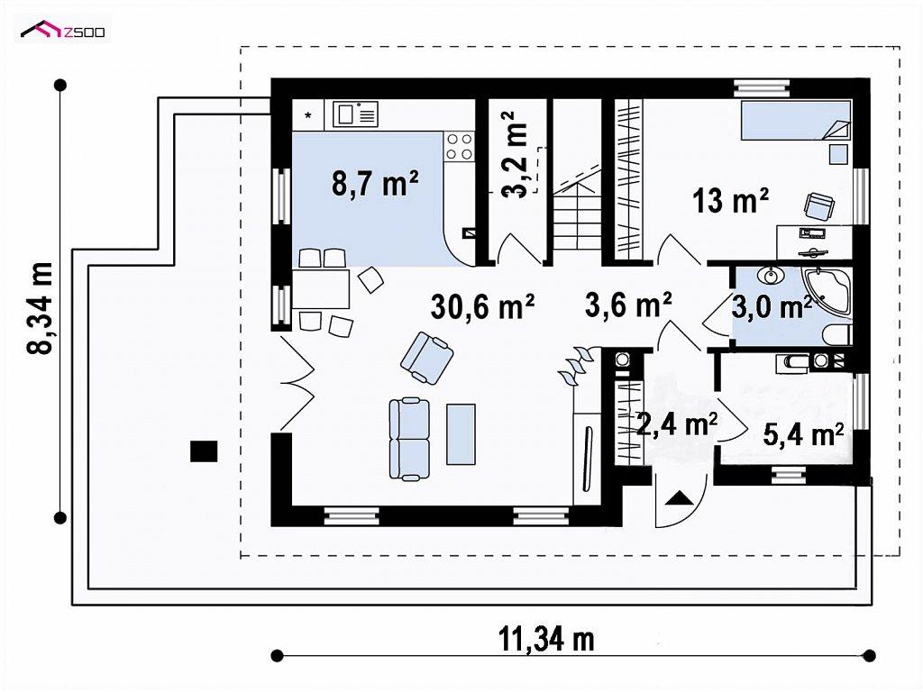 Вариант мансардного дома Z149 без гаража план помещений 1