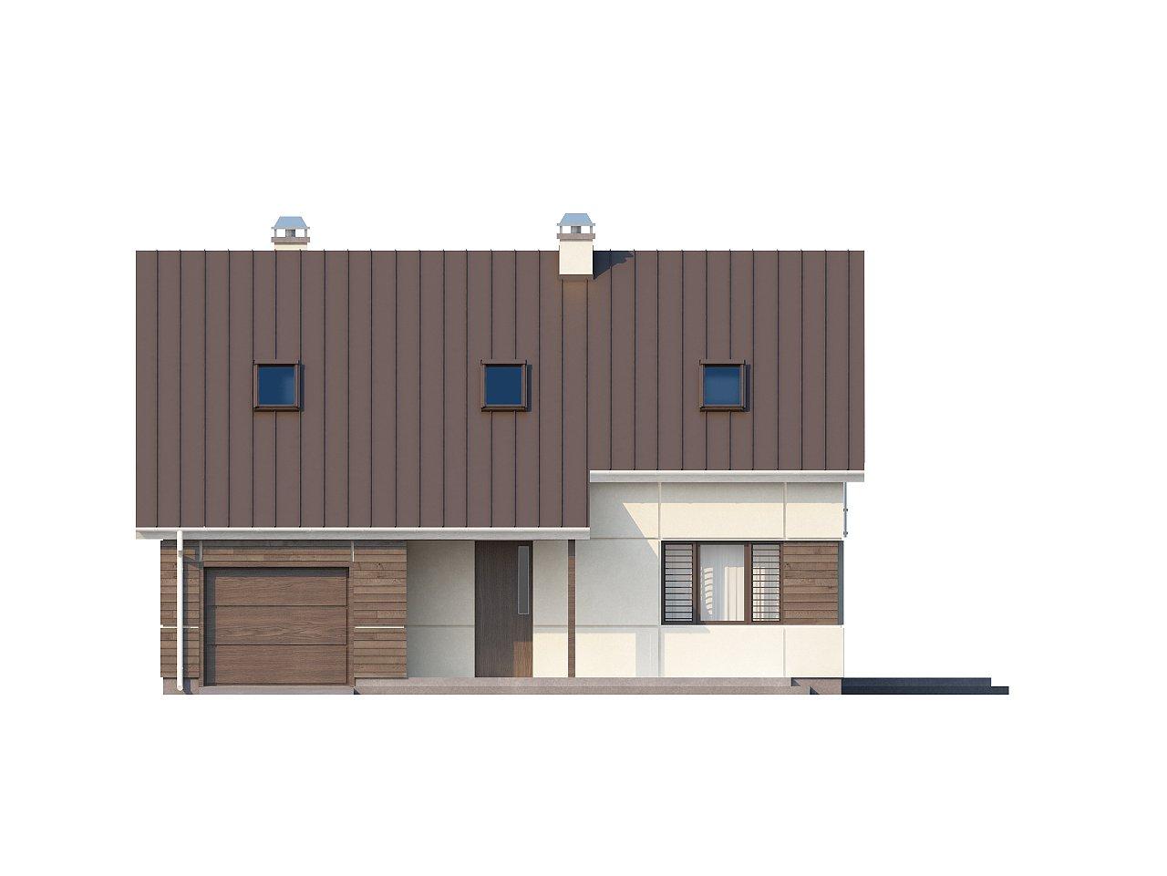 Проект дома с мансардой, с дополнительной спальней на первом этаже и с застекленной террасой. 9