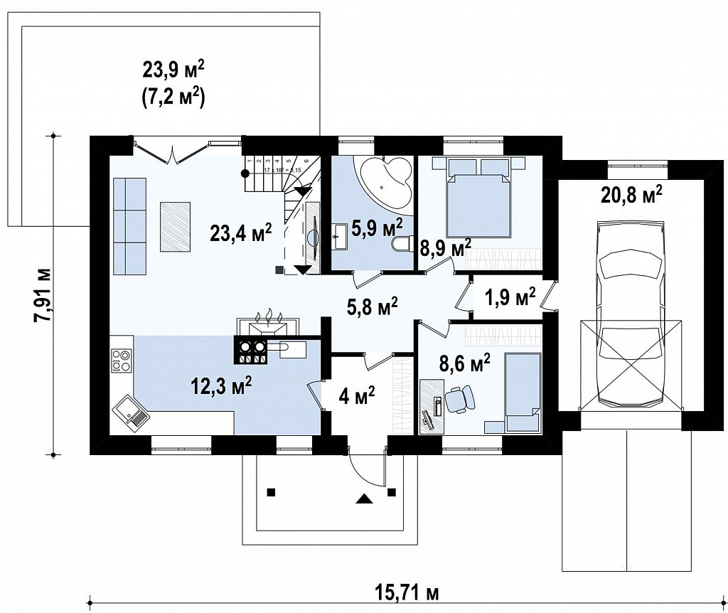 Версия проекта Z12 с мансардой и гаражом. план помещений 1