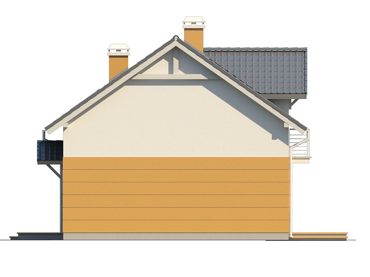 Стильный дом с мансардным окном и балконом, а также кухней со стороны сада. 5