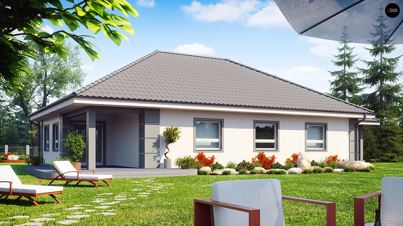 Проект одноэтажного дома с просторной гостиной и гаражом для двух машин. 2