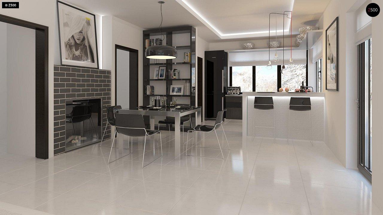 Проект просторного двухэтажного дома для симметричной застройки с террасой над гаражом. 6