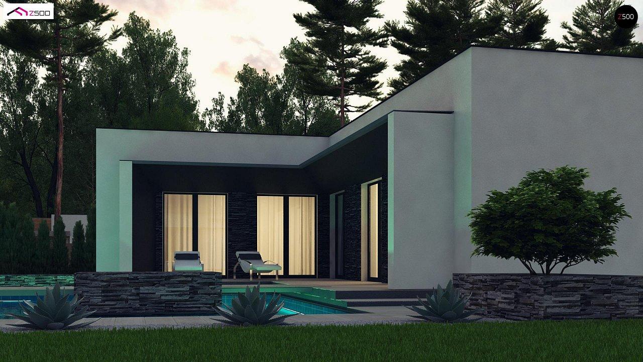 Современный одноэтажный дом с плоской крышей и гаражом на один автомобиль. - фото 4