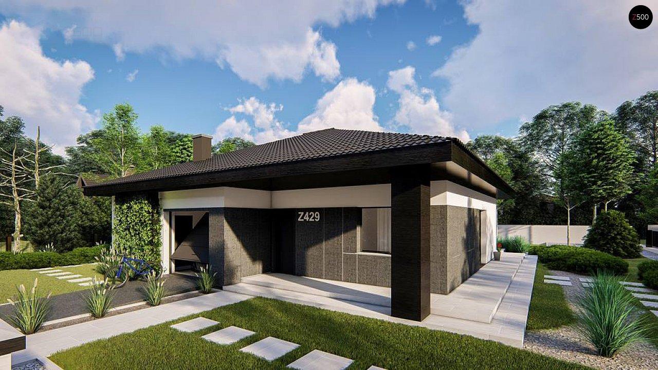Функциональный одноэтажный дом с гаражом на одну машину, расположенный в центральной части переднего фасада. 2