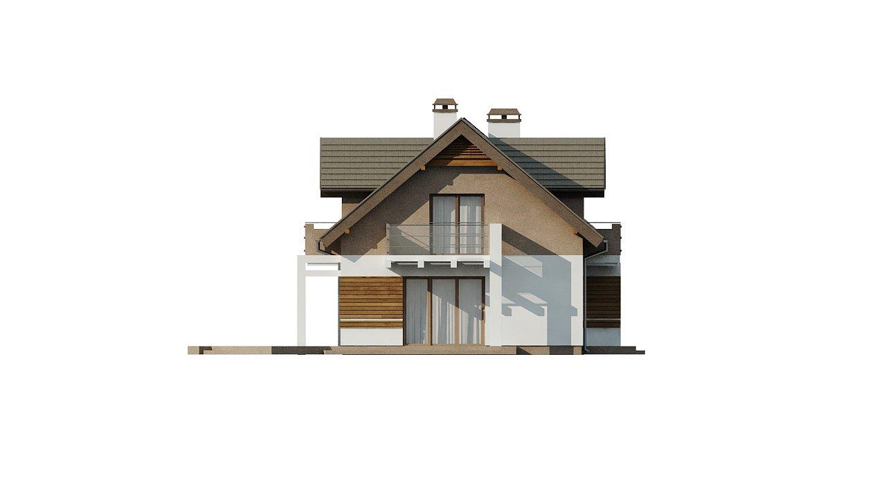 Проект функционального уютного дома с мансардными окнами и оригинальной отделкой фасадов. 17