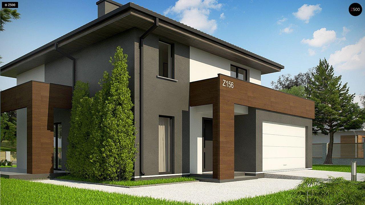 Уменьшенная версия проекта z156 с гаражем и стильным фасадом 6