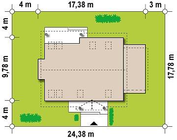 Версия проекта Z95 с гаражом для одного автомобиля, пристроенного слева. план помещений 1