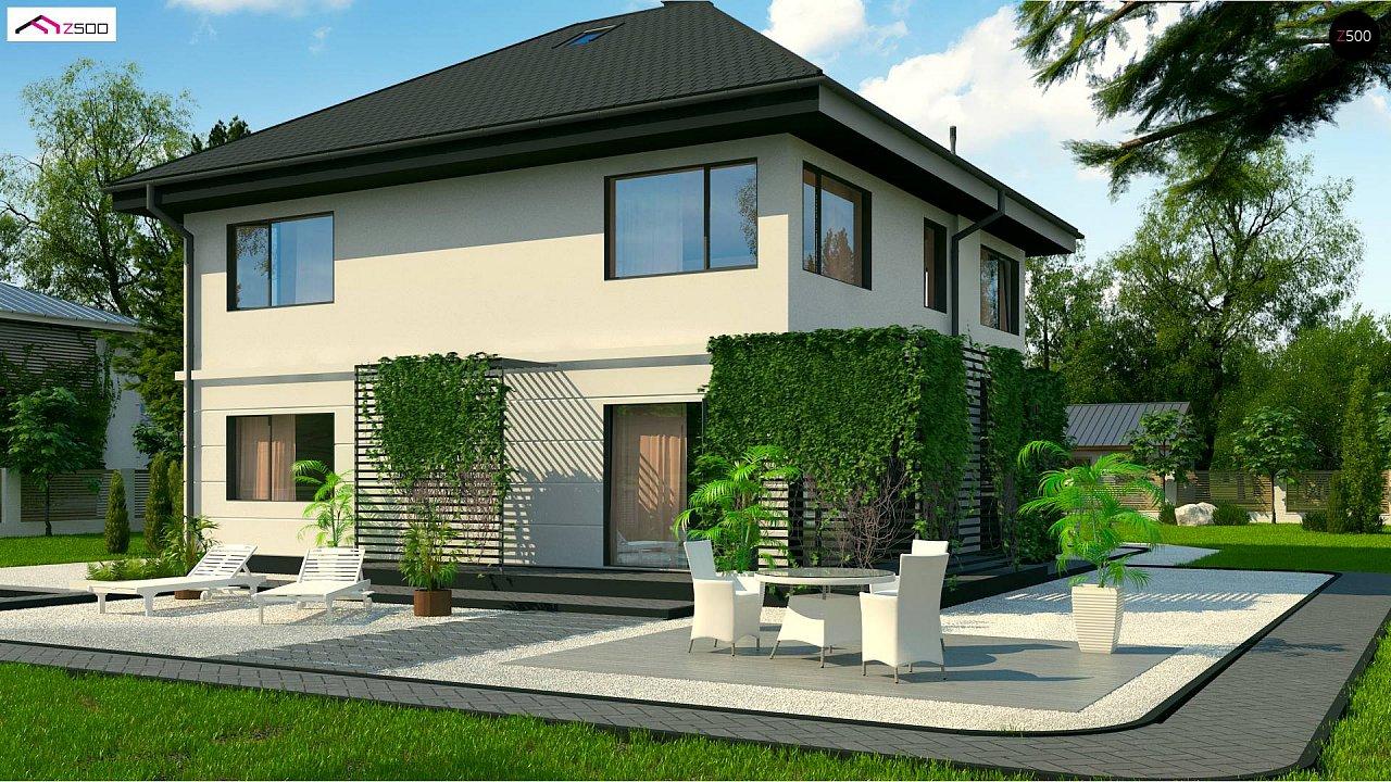 Просторный двухэтажный дом простой формы с террасой над гаражом. - фото 2