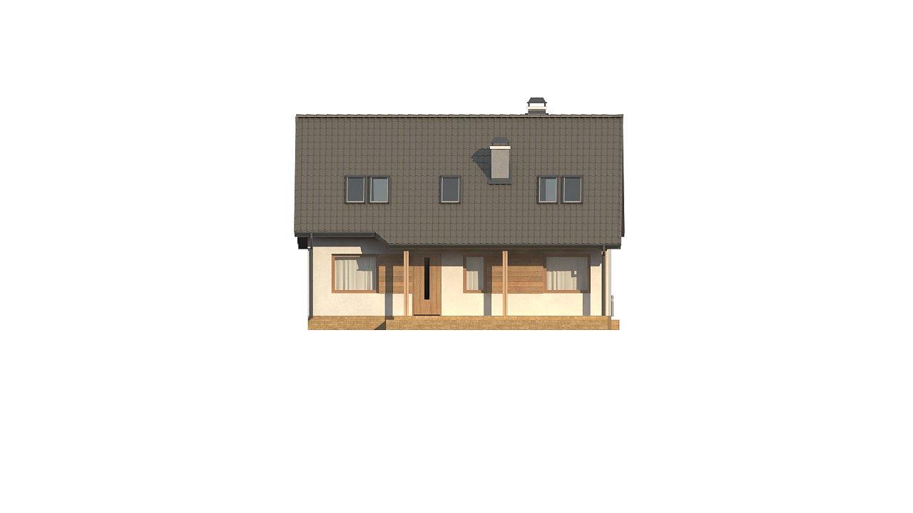 Дом с мансардой с двускатной крышей и комнатой на первом этаже 20