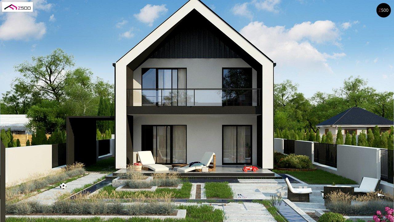 Двухэтажный дом в современном стиле для узкого участка. - фото 1