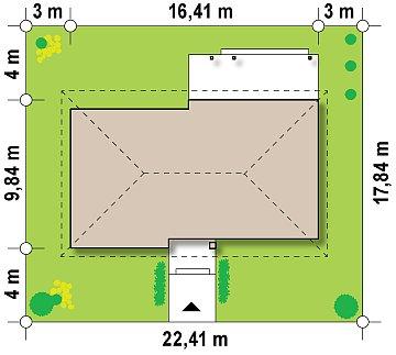 Одноэтажный дом с возможностью обустройства чердачного помещения, оптимальный для южного въезда на участок. план помещений 1