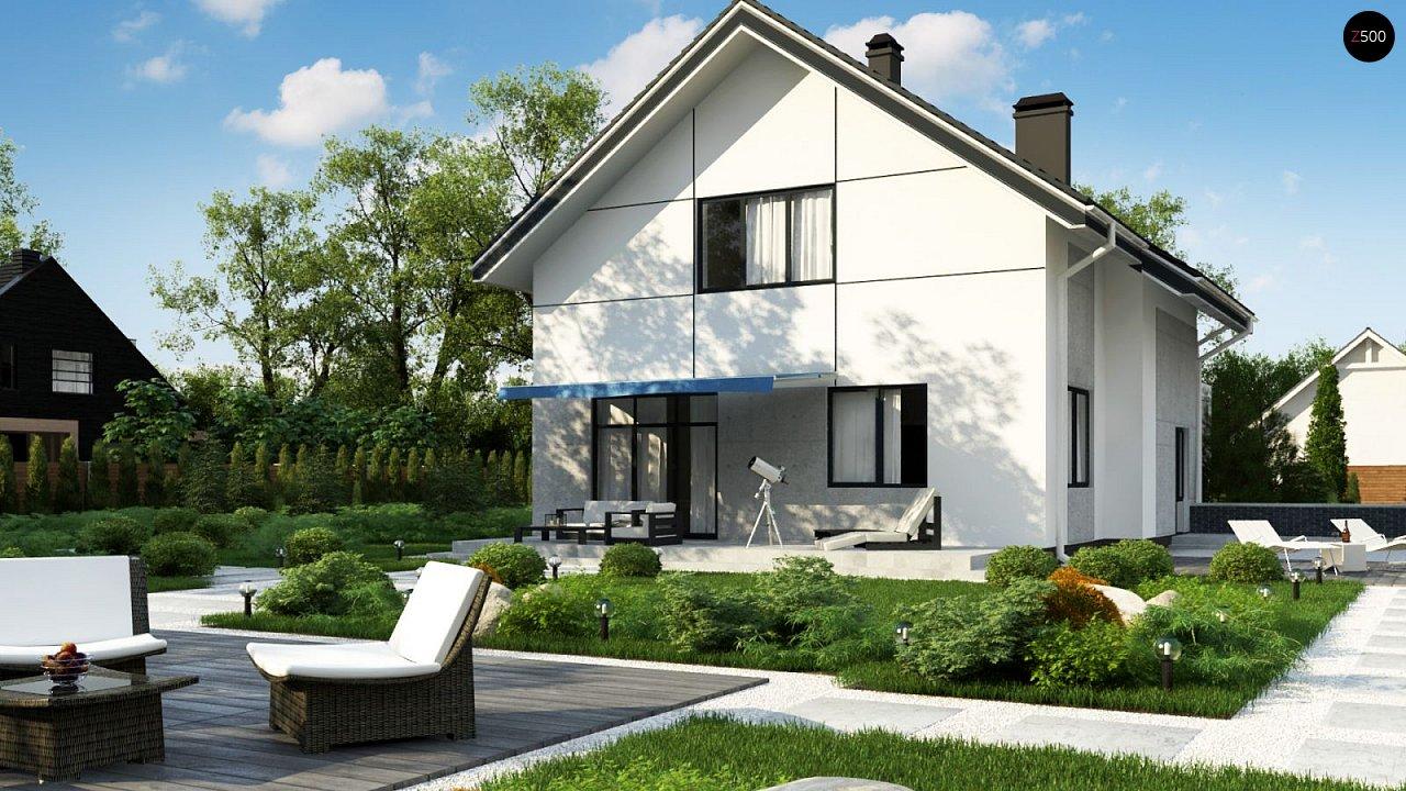 Проект оригинального двухуровневого современного дома без гаража. 3