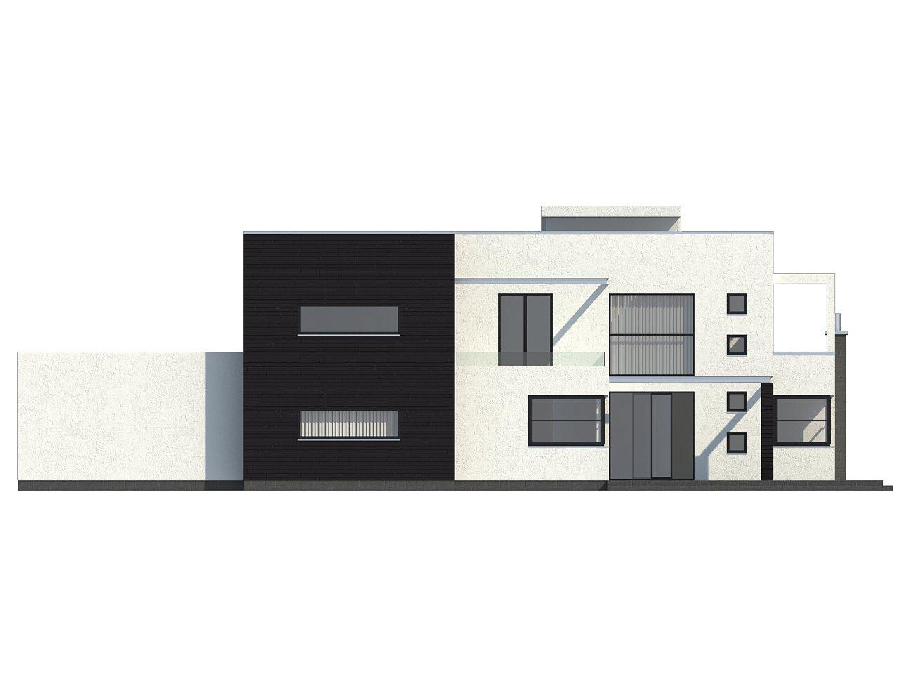 Современный дом кубической формы с террасой над гаражом. - фото 4