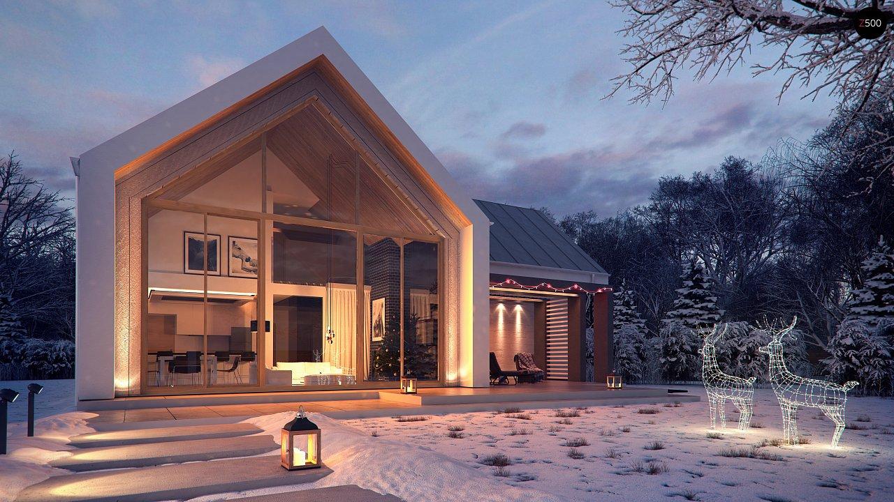 Современный мансардный дом с гаражом на две машины - фото 1
