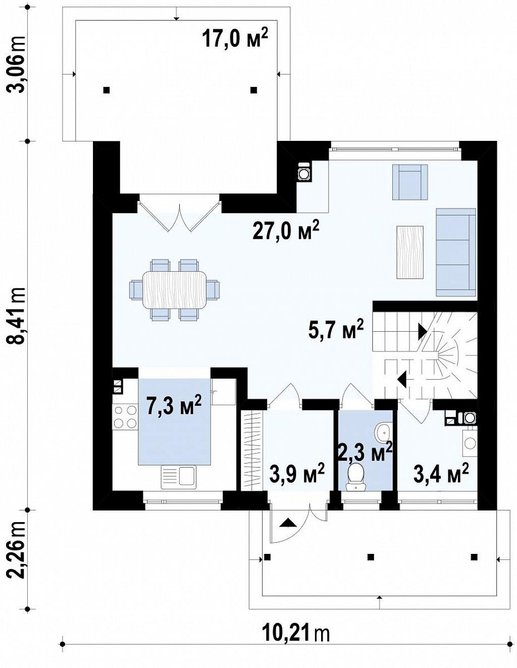 Проект небольшого практичного дома, выгодного в строительстве и эксплуатации. план помещений 1