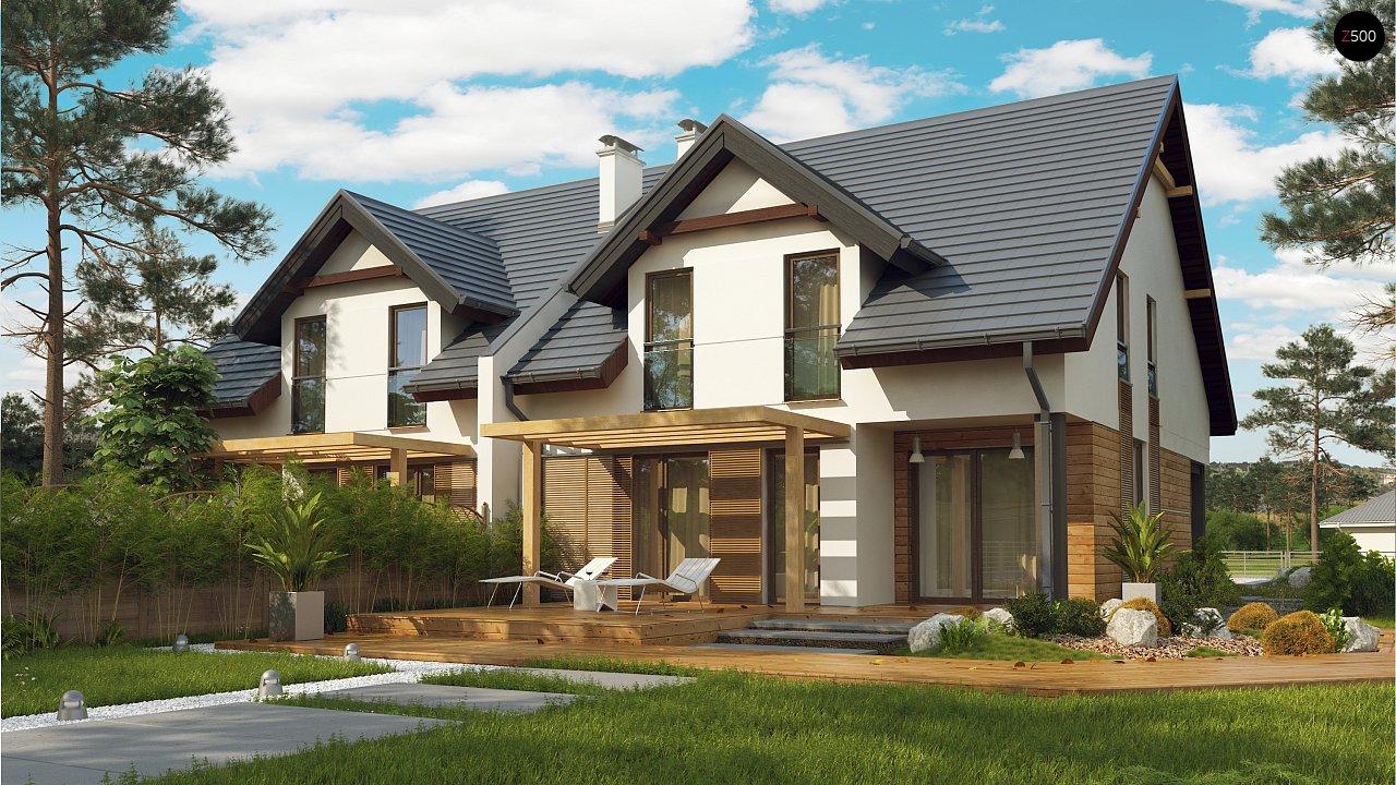 Дома близнецы элегантного дизайна со встроенным гаражом. 2