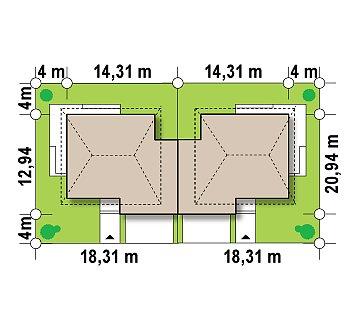 Проект просторного двухэтажного дома для симметричной застройки с террасой над гаражом. план помещений 1