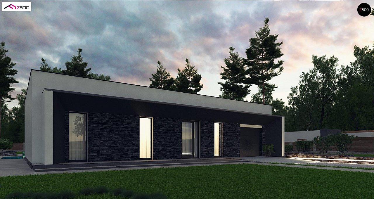 Современный одноэтажный дом с плоской крышей и гаражом на один автомобиль. - фото 3