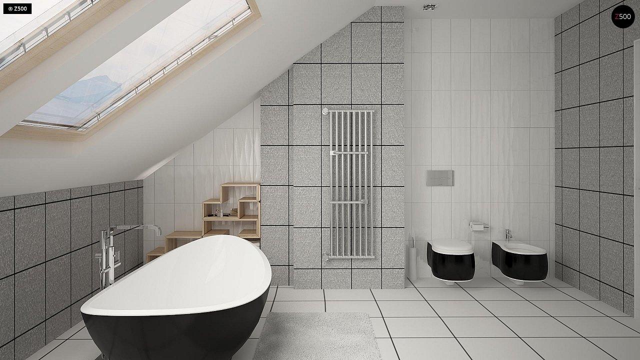 Проект аккуратного мансардного дома, с современным дизайном фасадов. 12