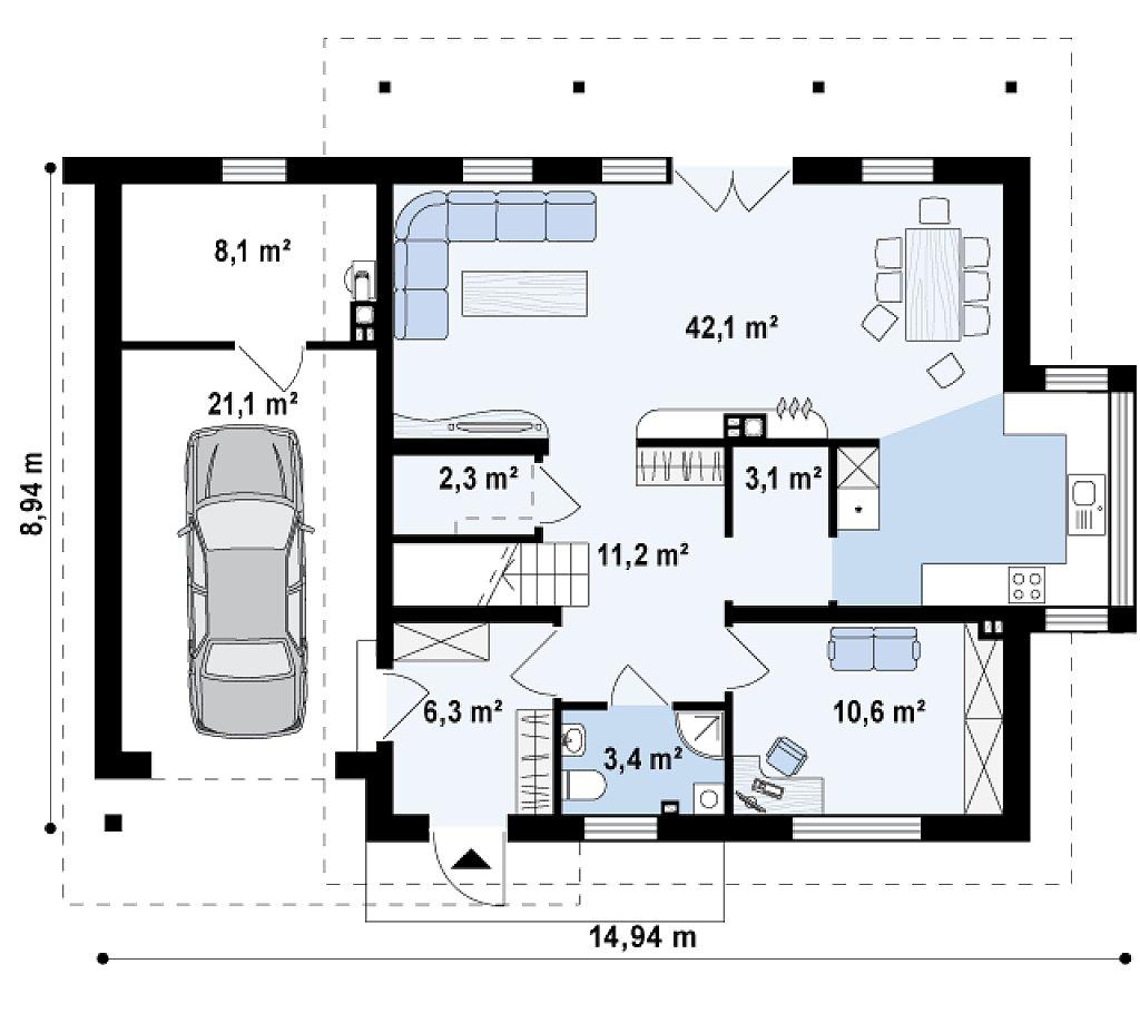 Удобный дом с эркером, балконом и террасой над гаражом. план помещений 1