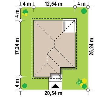 Просторный одноэтажный дом с многоскатной крышей, угловым окном и угловой террасой в дневной зоне. план помещений 1