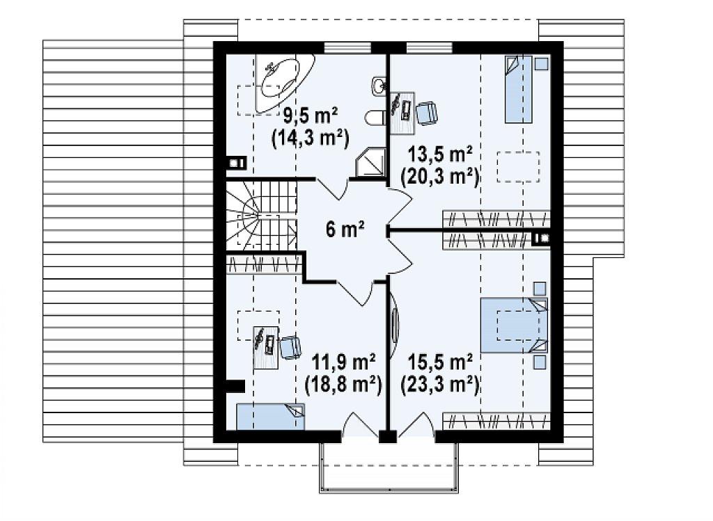 Проект мансардного дома - вариант Z63 c внесенными изменениями в планировку и гаражом для 1 авто план помещений 2