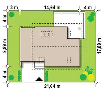 Дом с мансардой с гаражом с левой стороны для одной машины. план помещений 1