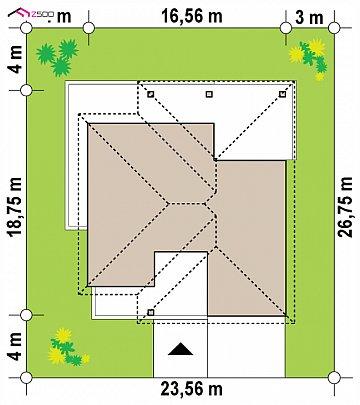 Одноэтажный дом с просторной гостиной и открытой кухней план помещений 1