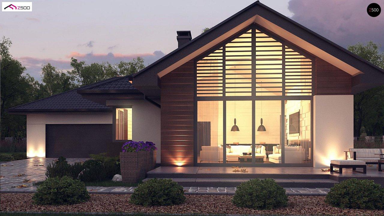 Стильный одноэтажный дом с панорамным остеклением в гостиной - фото 4