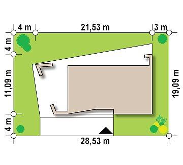 Современный одноэтажный дом с боковой террасой план помещений 1