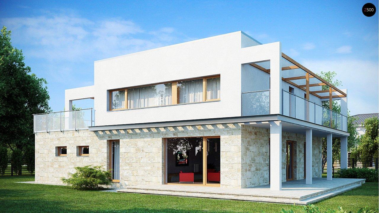 Практичный двухэтажный дом в современном стиле с обширной террасой над гаражом. - фото 2