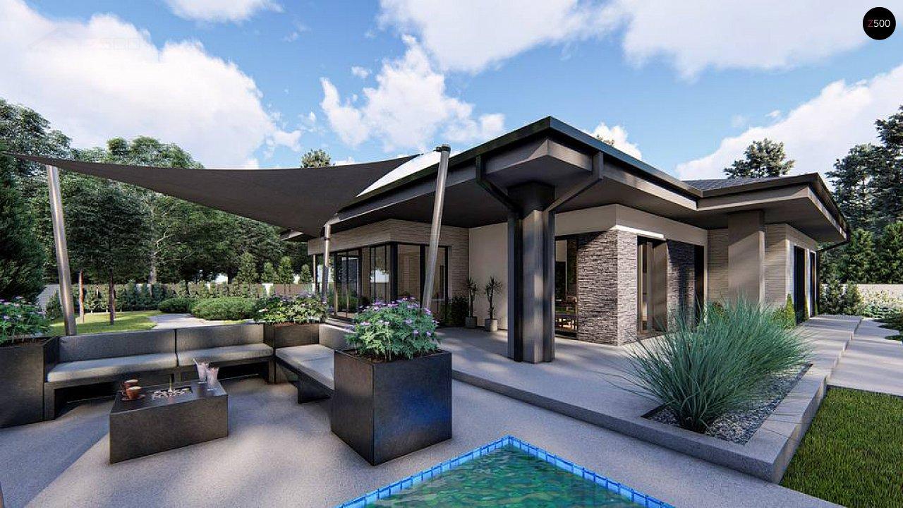 Cовременный одноэтажный дом с многоскатной крышей и гаражом на две машины. 4
