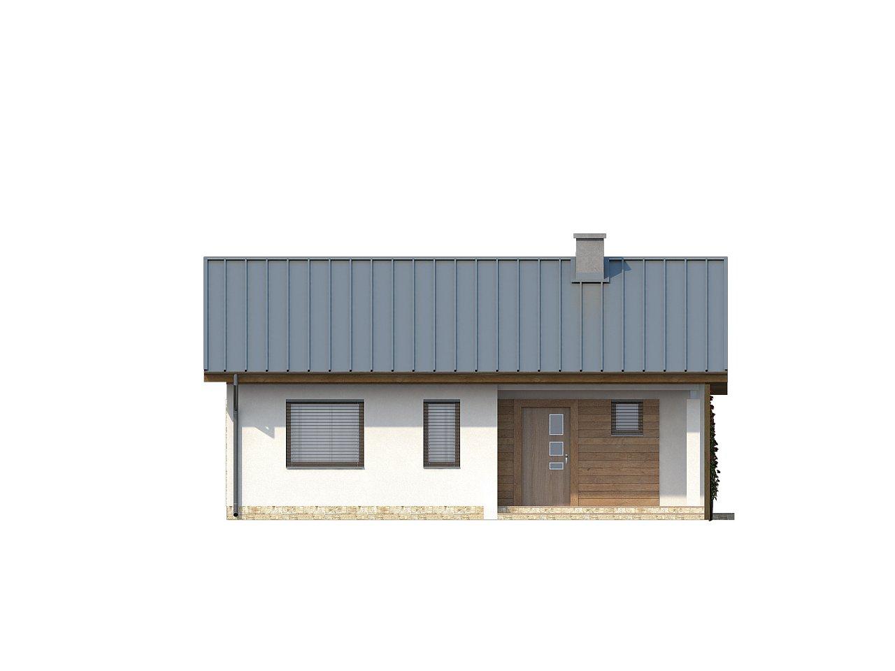 Аккуратный небольшой одноэтажный дом простой конструкции с кухней со стороны сада. 12