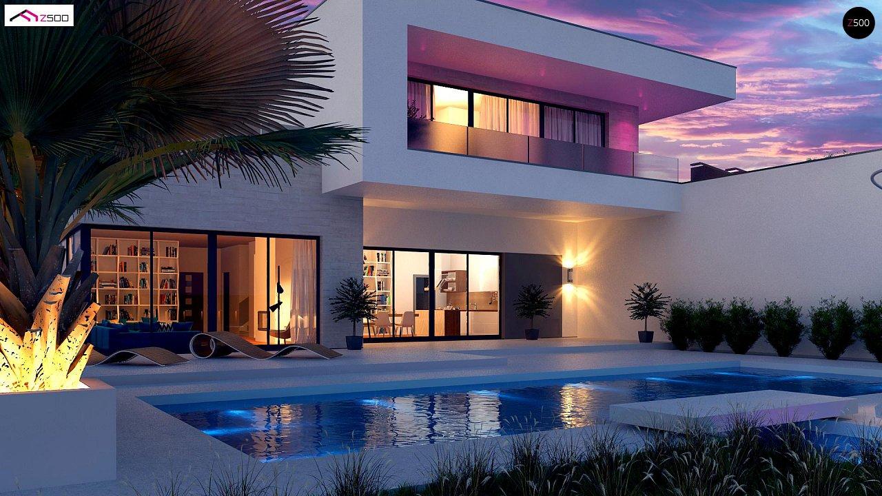 Стильный современный проект двухэтажного дома, подходит для строительства на участке со склоном. 6