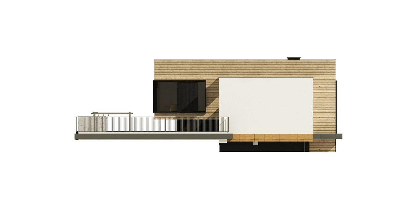 Проект современного дома с плоской кровлей и подземным гаражом. 10