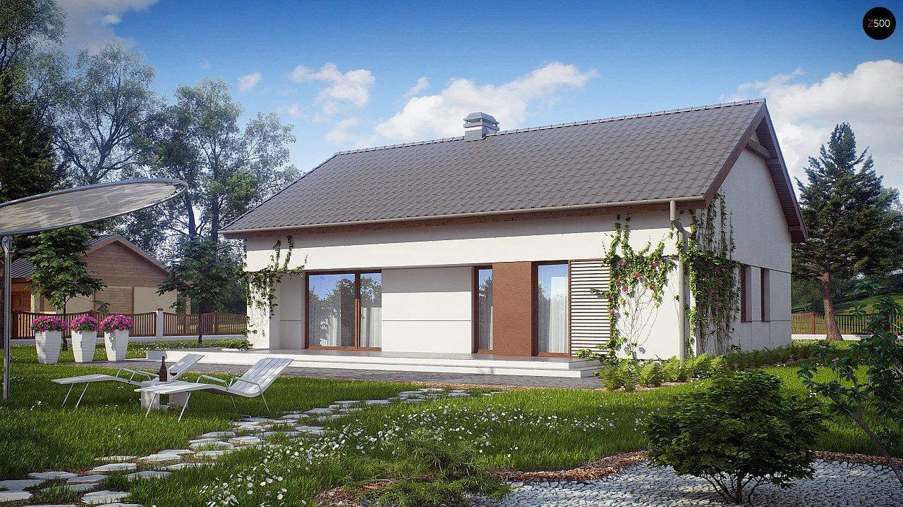 Компактный одноэтажный дом простой формы с возможностью обустройства чердачного помещения. 1