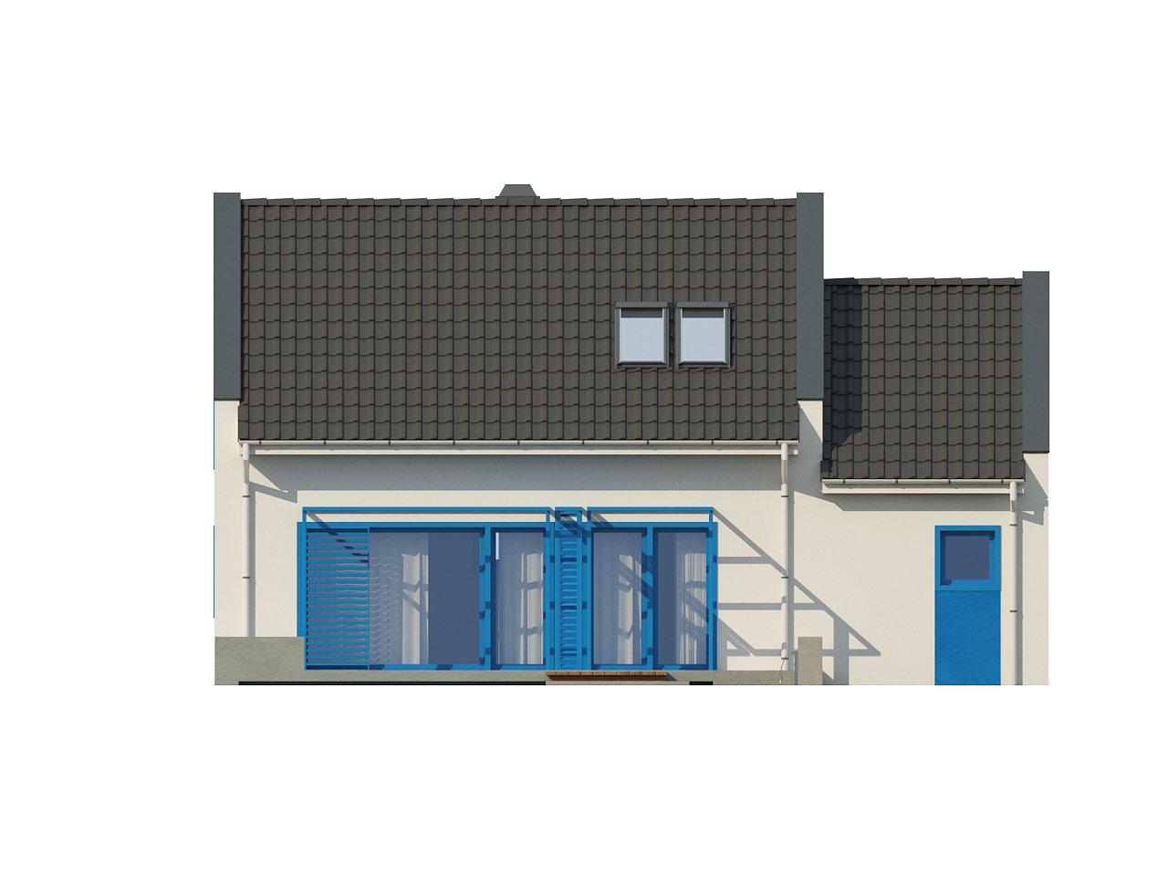 Компактный дом с гаражом для одной машины, с большими окнами в гостиной. 15