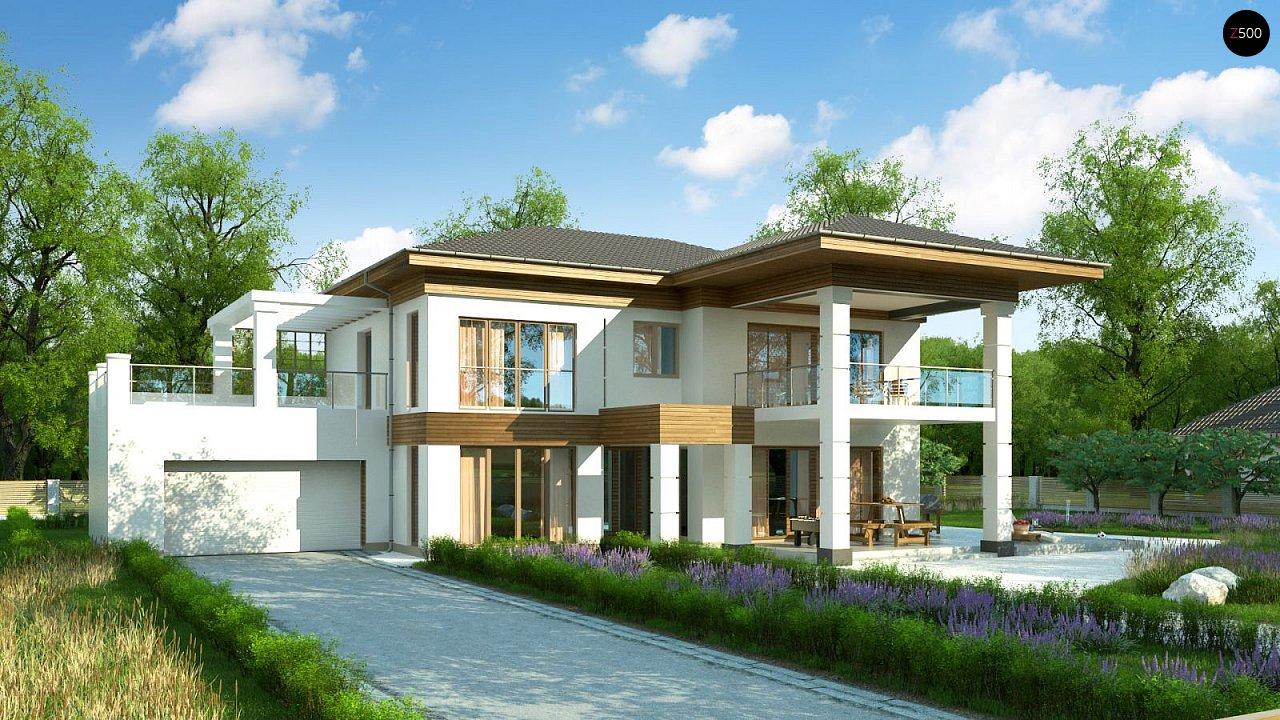 Проект стильного и просторного дома с элементами классической архитектуры. - фото 1