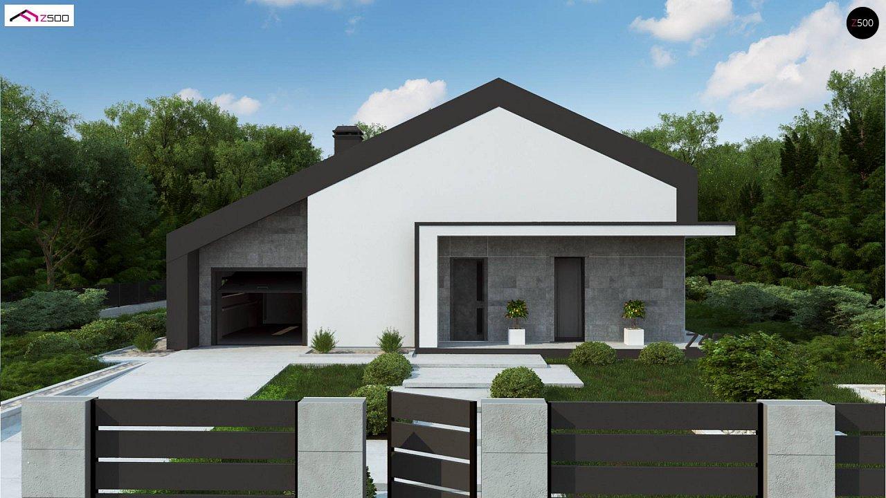 Современный одноэтажный дом с двускатной крышей и большой террасой 6