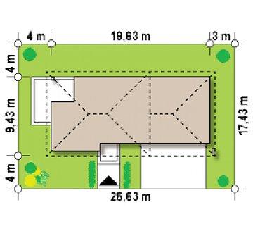 Двухэтажный дом с низкой кровлей с двухместным гаражом план помещений 1