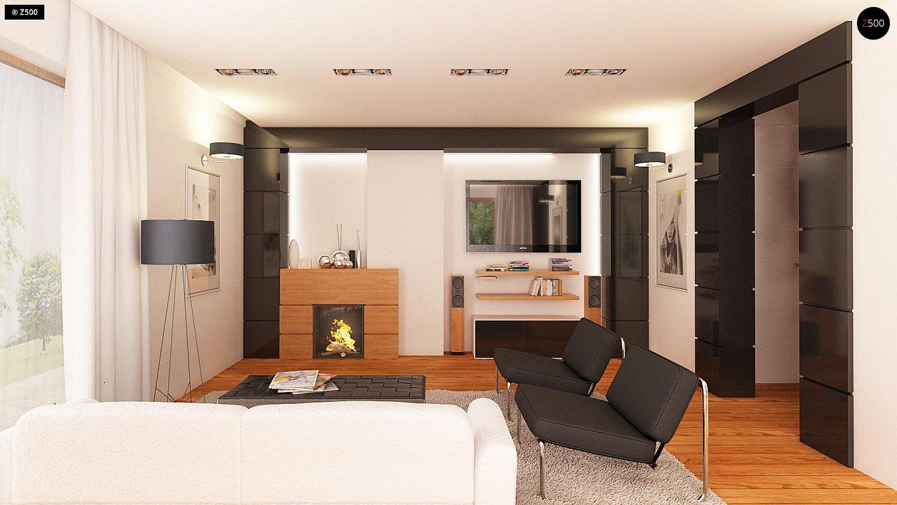 Проект аккуратного мансардного дома, с современным дизайном фасадов. 7
