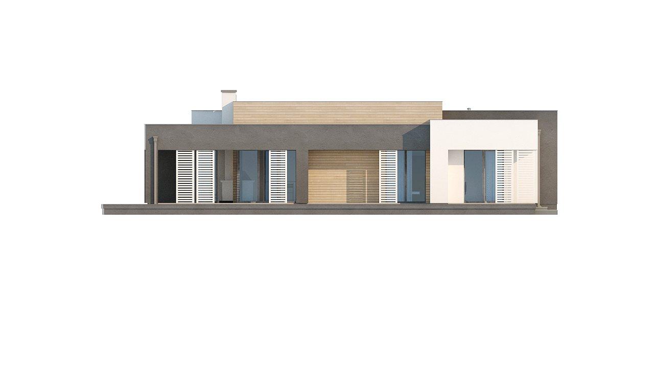 Одноэтажный дом в стиле хай-тек с плоской кровлей и большой площадью остекления. 30