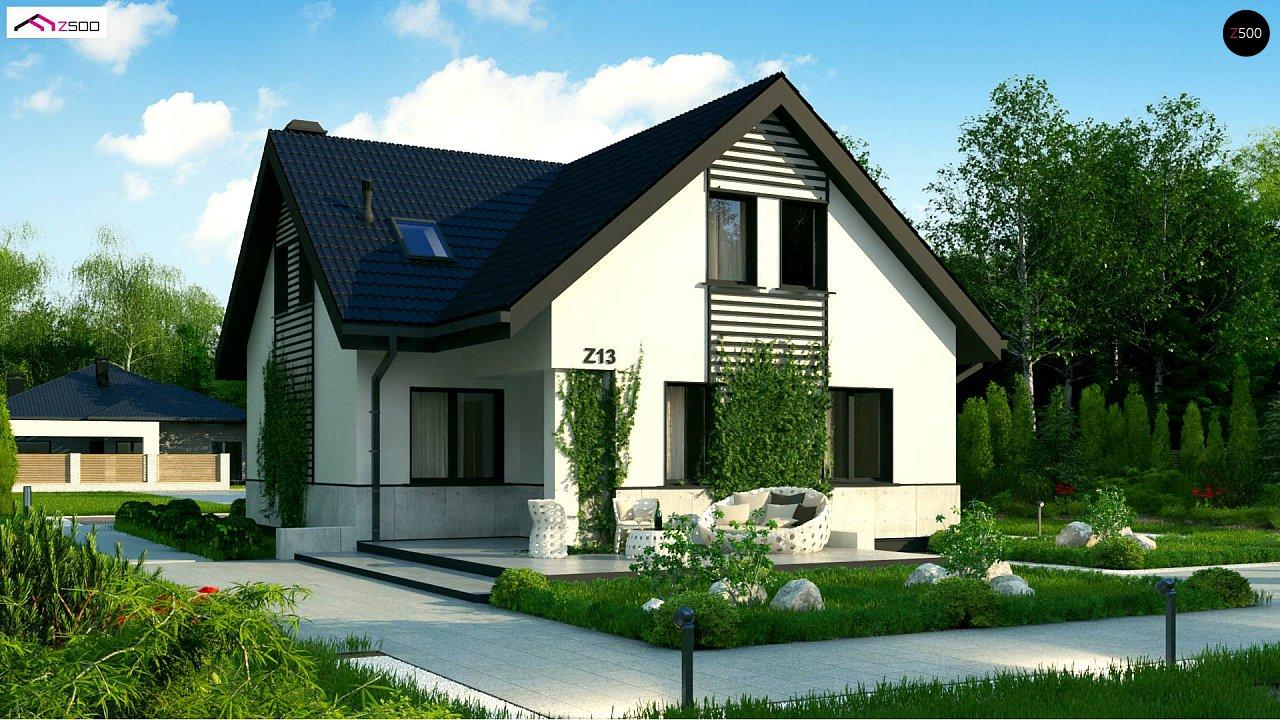 Простой в строительстве дом с балконом над входом. 2