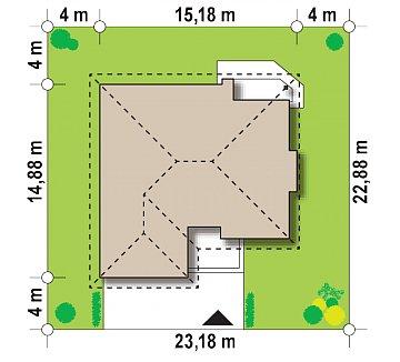 Одноэтажный удобный дом с фронтальным гаражом, с возможностью обустройства мансарды. план помещений 1