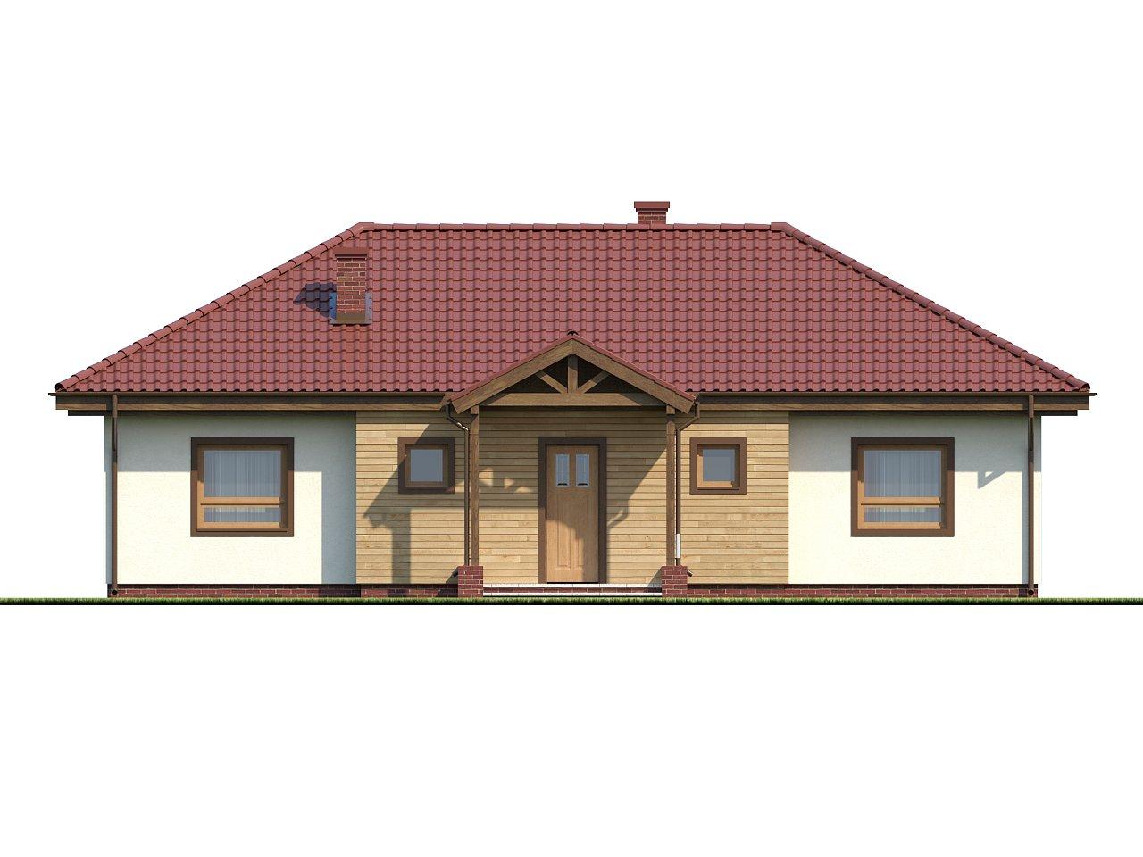 Симметричный одноэтажный дом с многоскатной кровлей. 3