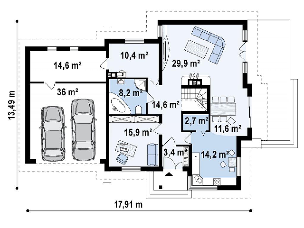 Проект традиционного дома с гаражом для двух машин и боковой террасой. план помещений 1