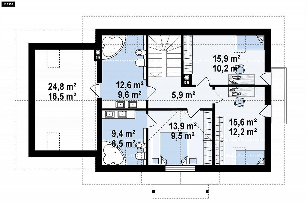 Красивый дом в традиционном стиле архитектуры, с комнатой на пером этаже и гаражом. план помещений 2