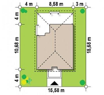 Аккуратный одноэтажный дом с деревянной облицовкой фасадов, адаптированный для каркасной технологии. план помещений 1