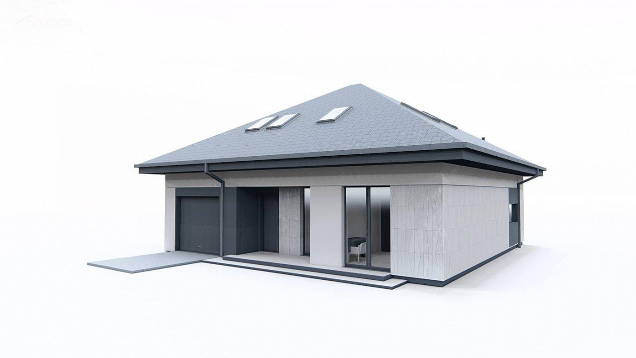Дом с мансардой, 4-х скатной кровлей и гаражом на одну машину. 6