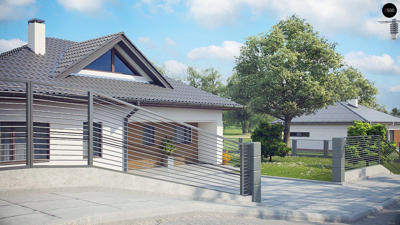 Проект комфортного одноэтажного дома с оригинальными фасадными окнами на чердаке. 4